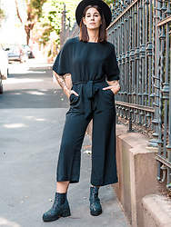 Nina Wirths - Monki Jumpsuit, H&M Hat, Asos Boots - All black is everything