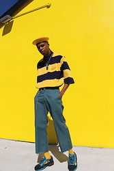 Dominic Grizzelle - Lazy Oaf Cheese Rugby Tee, Dickies Cropped Work Pants, Raf Simons Trainers - CHEESE