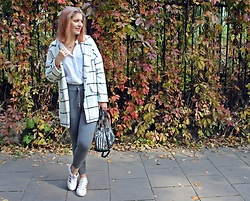 Aleksandra Siara - Shein Coat, Zara Pants - White and grey