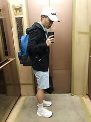 Joshua Wang - Coach Backpack, Polo Ralph Lauren Hooded Jacket, Nike Shoes, Fitleist Cap - Casual wear