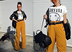 Marija M. - Shein Polka Dot Pants, Zaful Nirvana T Shirt, Zaful Embroidered Jacket - Polka dots