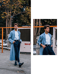 Yanick Monteiro - H&M Loose Fit Shirt,   Bukhara Coat, Wemoto Night Blue Pants, Thrift Shop Royal Black, Francis Et Son Ami Patric - RusT