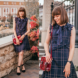 Christina & Karina Vartanovy - Chic Wish Tweed Sleeveless Dress In Navy, The Leather Satchel Patent Oxblood Mini, Rosewholesale Lace Up Black Flat Shoes - Christina // lucky strike