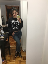 "Alien K - Nikki Lipstick Sad Girls Sweater, Rag & Bone Jeans, Urban Outfitters Shoes - ""It's funny because you have depression"" -my mother"