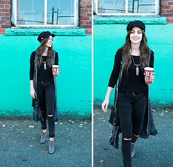 Kassy D - David And Young Hat, H&M Top, Rebellion Vest, Only Jeans, Danexx Lace Ups - Long Vests & Torn Denim