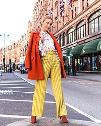 Miss Casual - Religion Ruffles Shirt, Asos High Waisted Stripe Trousers - Pumpkin spice
