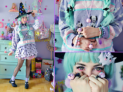 Luly Pastel Cubes - Spreepicky Dress, Ftwr Bat - Mint witch