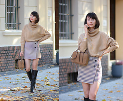 Daisyline . - Zara Leather Bag, H&M Sweater, H&M Skirt, Loft37 Shoes - Sunny autumn days / IG: daisylineblog