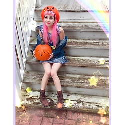 Lily P - Etsy Jack O Lantern Beret By Em & Sprout, Korean Offbrand Gingham Print Skater Dress, Mudd Thrifted Brown Boots, Misslisachan Spooky Mametchi Pin, Ebay Mametchi Tamagotchi Pouch - 🦇 sp00ky 00ky ding-dang d00kie🦇