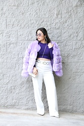 Kristen Tanabe - Yoins Faux Fur Coat, Forever 21 Long Sleeve Crop Top, Diane Von Furstenberg High Waisted Flare Pants, Louise Et Cie Silver Pointed Pumps, Vintage Silver Chain Belt, Nordstrom Rack Silver Clutch, Miu Round Sunglasses, Baublebar Rhinestone Earrings - Iris in Bloom