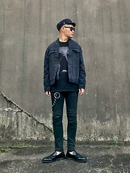 ★masaki★ - H&M Military Cap, Neuw Denim Relaxed Bomber, Jesse Draxler Art Tee, Neuw Denim Iggy, Dr. Martens Loafers - ALL BLACK EVERYTHING