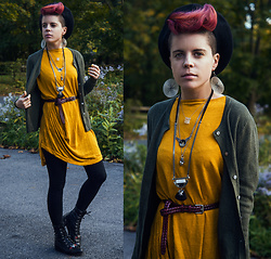 Carolyn W - Soave Faire (Local) Beret, Target Olive, Vipshop/Octopus Mustard, Uniqlo Braided, Gap Leggings, Justins - Mustard + Olive