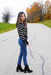Karin Jurgens - Zara Striped Cardigan, Topshop Mom Jeans, Topshop Ankle Boots - Stripes + Mom Jeans