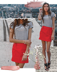 Jenny M - Revolve Red Lace Up Mini Skirt, Stuart Weitzman Heeled Sandals - JEUNE ET BELLE // thehungarianbrunette.com
