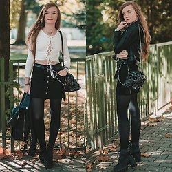Karolina N. - Zaful Sweater, Zaful Skirt, Zaful Belt, Zaful Jacket, Killstar Skull Bag - Black, white & skull bag