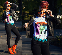 Carolyn W - Topshop Suede, Charming Charlie Pom Pom, Thrifted, Tourist Tee, Gap 1969, Forever 21 Wedge - Andino Crew