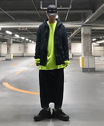★masaki★ - Kollaps アンビエント テクノ, Wesc Military Jacket, Monochrome Dropchrotch, Nike Monarch, Proclub Neon Tee - アンビエント テクノ