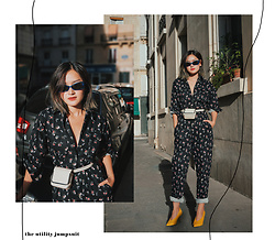 Miu PHAM - Asos Electric Blue Sunglasses, Asos Floral Jumpsuit, Carven Minibag, Uterque Pony Hair Pumps - Utility jumpsuit