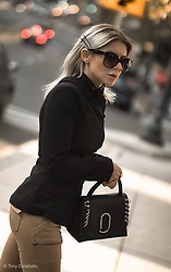 Isabel Alexander - 3.1 Phillip Lim Black Studded Bag, Prada Sunglasses, Iamnonblonde Black One Shoulder Blazer - Asymmetric looks this Autumn