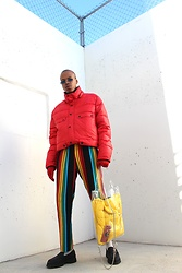Dominic Grizzelle - Asos Red Puffer, Asos Rainbow Pants, Asos Platform Loafers - Rainbow Winters