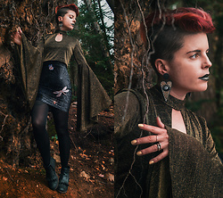 Carolyn W - Haoduoyi Bell Sleeve, Black Milk Clothing Spiderwebs, H&M Eyeballs, I <3 Ginger Fringe - From the Roots