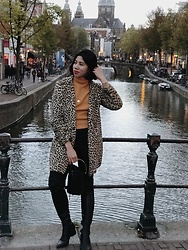 Cassey Cakes - Mango Leopard Coat, Mango Thigh High Boots, Mango Bucket Bag, Zaful Sweater, H&M Skinny Jeans - Amsterdam