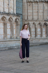 Summer R - & Other Stories Cropped Raw Hem Jeans, Mango Lilac Pink High Neck Blouse, & Other Stories Loafers - A Little Lavender