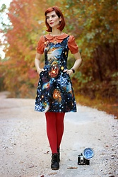 Bleu Avenue Ofbleuavenue - Modcloth Heart And Solar System Dress, Forever 21 Orange Peter Pan Top, Modcloth Ruby Tights, Steve Madden Black Boots - Heart and Solar System
