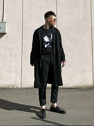 ★masaki★ - Neuw Denim Coat, David Bowie Heroes, Ch. Trousers, Dr. Martens Loafers - ALL BLACK