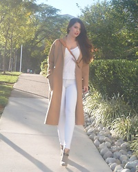 Isabella David - Rag & Bone Booties, Adriano Goldschmied White Tee, Louis Vuitton Satchel, Rouje Overcoat - White After Labor Day