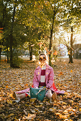 Andreea Birsan - Pink Trench Coat, Striped Turtleneck Sweater, Oversized Sunglasses, White Leather Pumps, Rainbow Skirt, Hobo Bag - Leaf me alone