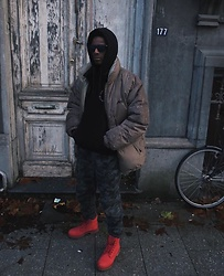 Jon The Gold - Timberland Red Boots, Denham Camo Pants, Fubu Puffer Jacket - The FUBU Puffer Jacket