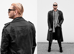 Wyatt Morgan - Vintage Leather Coat, Asos Striped Oversized Shirt - 04 11