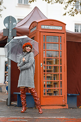 Esra E. - Zara Red Patient Leather Overknees, Pimkie Grey Knit Sweater Mini Dress - Telephone booth