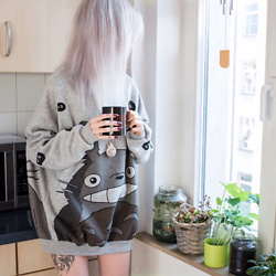 Kimi Peri - Shade's Treasures Oversized Totoro Sweater, Shade's Treasures Clay Bottle Necklace - Sunday with Totoro