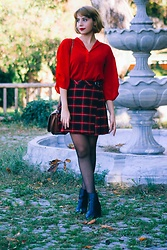 Blue Bird - Zara Red Shirt, Mango Red Plait Skirt, H&M Ankle Boots - In red we believe