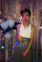 Samuel Oh - White Undershirt, Zara Metallic Palazzo Pants, Silver Chain Necklace - BDAY