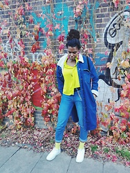 Yara Snow'z - H&M Lime Socks, Bershka Oversized Denim Coat, Primark Denim Jeans - London Lime