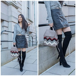 Kimberly Kong - Free People Faux Leather Skirt, Free People Cropped Top, Stuart Weitzman Over The Knee Boots - Win a Radley London Bag of Your Choice!