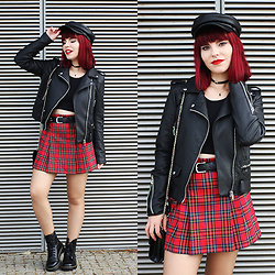 Carina Gonçalves - Zara Leather Jacket, Missguided Crop Top, Made By My Mom Skirt, Dr. Martens Boots, Stradivarius Hat - 'Cause it's a bitter sweet symphony, that's life