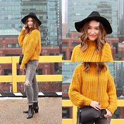 Taylor Doucette - H&M Mustard Yellow Chunky Knit Sweater, H&M Felt Hat, Citizens Of Humanity Distressed Grey Jeans, Kendall & Kylie Shiny Patent Leather Boots - Emily - Love You Later