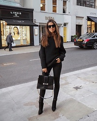 Julia Lundin - Russell And Bromley Bag, H&M Sweater, Levi's® Jeans, Céline Sunglasses - All black chic