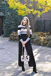 Paulina Kędzierska - Na Kd Flared Pants Black, Na Kd Striped Sweater - Flared Pants