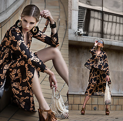 Dora D. - Oversized Sunglasses, Floral Print Ruffle Silk Dress, Fishnet Bag - WARM AUTUMN