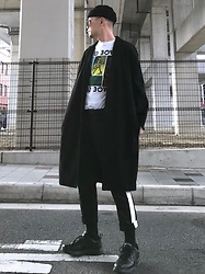 ★masaki★ - Neuw Denim Relaxed Coat, David Bowie Music Tee, Asos Side Line Pants, Nike Air Monarch - Black & White