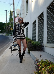 The wardrobe of Ms. B - Self Portrait Shirt, Gucci Handbag, Gucci Belt Bag - Streetstyle in West Hollywood