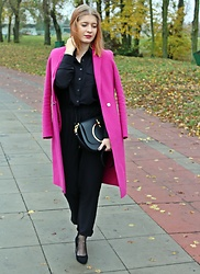 Aleksandra Siara - Reserved Coat, Shein Jumpsuit - Pink coat & Black jumpsuit