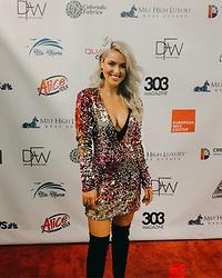 Amber Wilkerson - Sequin Dress, Over The Knee Boots, Black And Gold Teardrop Earrings - SEQUIN DRESS FOR DENVER FASHION WEEK!