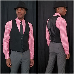 Thomas G - New York & Company Six Button 'Stretch', Pierre Cardin 'Slim', H&M Dress Pants, Aeropostale Original Quality Button Down, Faded Glory Fedora - Fedora + Tie + Vest + Dress pants