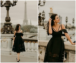 Edisa Shahini - Self Portrait Dress, Aquazzura Shoes - AUTUMN IN PARIS
